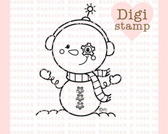 SnowBot Digital Stamp - Winter Stamp - Digital winter Stamp - Snowman Art - Robot Card Supply - Christmas Craft Supply
