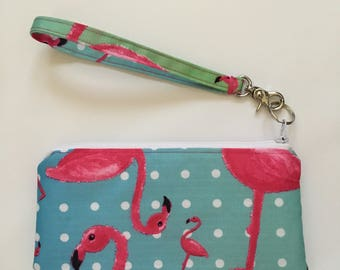 Flamingo Wristlet, Flamingo Purse, Flamingo Wallet, Novelty Wristlet, Novelty Purse