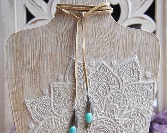 Feather Wrap Necklace, Wrap Necklace, Feather Necklace, Wrap bracelet, Amazonite Necklace, Bolo Necklace, Festival Necklace, Bohemian, Boho
