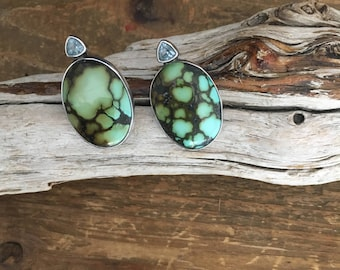 Natural Turquoise, faceted iolite & Sterling silver Clip On Earrings