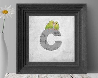 Nursery Art, Children's Decor, Kid's Room Art, Alphabet Art, Cute Bird Prints, Letter C, Wall Letters, Initials, ABC Letters
