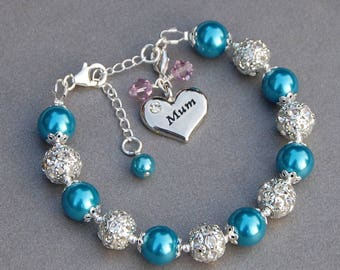 Birthstone Mum Bracelet, Mummy Gift, Birthstone Jewellery, Mummy Jewellery, Mum Birthday Present, Personalised Birthstone Jewellery