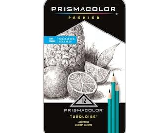 Prismacolor Premier Pencils, Turquoise Soft Grade Graphite Pencils Set of 12; Drawing, Blending, Shading & Rendering, Prismacolor Art Crafts