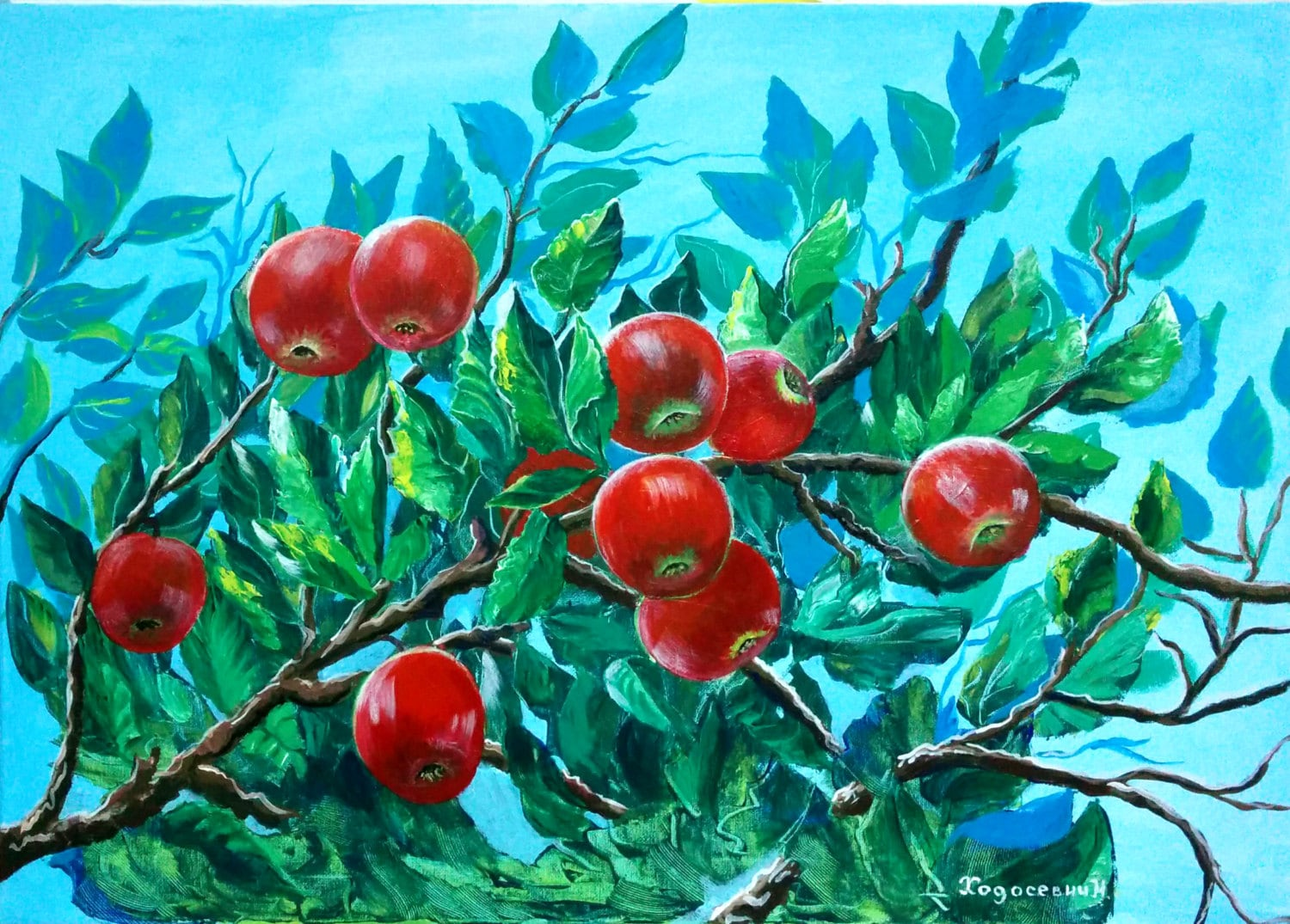Acrylic Painting Canvas Art Red Apple Tree Wall Home