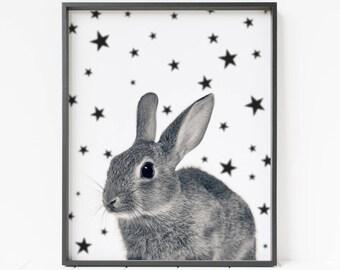 Bunny Printable Art, Nursery Decor, Rabbit Wall Art, Bunny Wall Art, Star Print, Bunny Poster, Rabbit Poster, Large Art, Woodland Animals