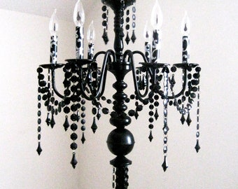 Giant Dramatic Black on Black Floor Lamp Torchiere