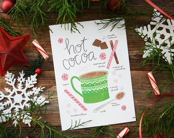 Hot cocoa recipe illustration Art Print, hot chocolate, Holiday Decor, Cookie exchange, Kitchen Art Seasonal, Cup of Cheer, Teacher gift