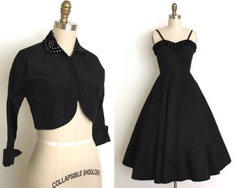vintage 1950s dress and bolero | 50s rhinestone dress and bolero set