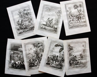 Rare Original Copper Engravings set of seven SOUTH AFRICA,Congo,africa dates 1754