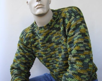 Wool Sweater Men, Men's Wool Sweater, Green Sweater, Men's Crochet Sweater, Camouflage Sweater, Unisex Sweater, Available in M and XL