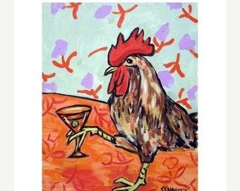 chicken art - Chicken at the Martini Bar Art Print - chicken gifts