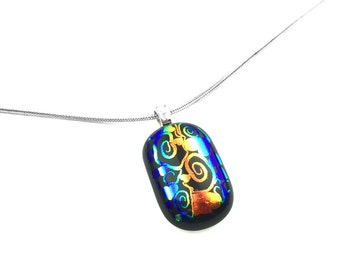 Pendant Necklace, Colorful Abstract, Dichroic Glass Jewelry