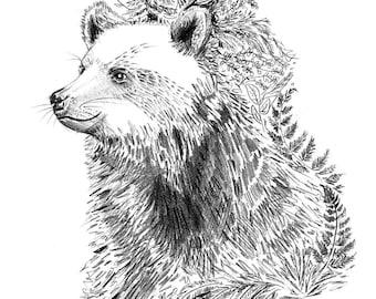 Mini-Kunstdruck, Bär im Wald, Bleistiftzeichnung, 300 g