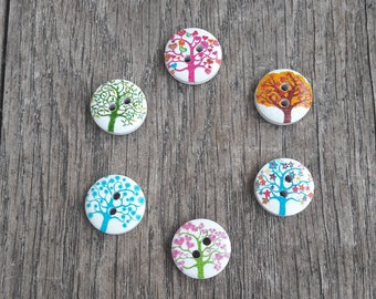 Set of 5 wooden buttons, 15mm, tree