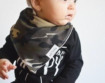 Camo and Solid Gray Baby Bandana, Drool Bib, Baby Bib, Baby Boy, Baby Girl, Bibdana, Bandana Bib