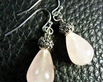Purely Adorable Pink Quartz Drop Plated Silver Earrings