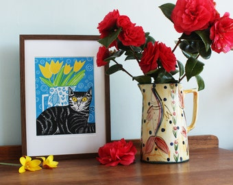 Millie the Cat – yellow eyes, by Kat Lendacka, Original Linocut Print, Signed Open Edition, Free Postage in UK, Hand Pulled, Printmaking,