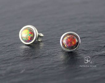 Opal Earrings Red, Studs, Gift for her