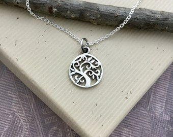 Small sterling silver Tree of Life necklace, tree of life charm, family tree, everyday jewelry, simple jewelry, inspirational jewelry N399S