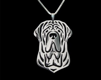 Neapolitan Mastiff jewelry - sterling silver pendant and necklace.