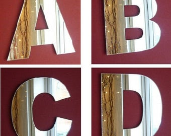 Contemporary Letter Mirrors - A to Z - - 10 Sizes Available Upper & Lower Case - Bespoke Styles Available