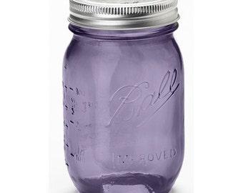 Ball Heritage Collection regular mouth 16 oz Mason Jars Green or Purple