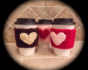 Valentine To Go Crochet Coffee Cup Sleeve - ready to ship