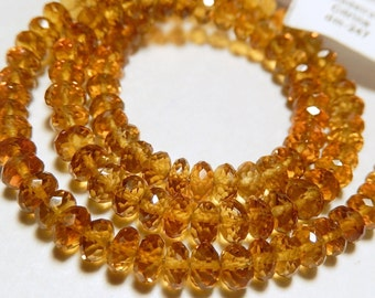 AAA Maderia Citrine Gemstone. Faceted Rondelles, 5mm. Semi Precious Gemstone Rondelle. Your Choice. Strand.  (mcit)