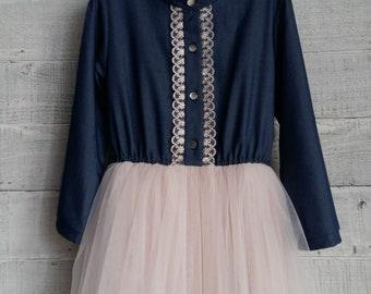 Girl's dress , child's dress , cotton dress , french dress,Dress for a girls, elegant dress,holiday dress.