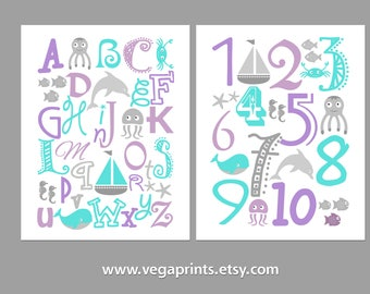 Purple and turquoise nautical Alphabet and numbers art print set -UNFRAMED- purple, grey, nursery wall art, kids room decor, 123, abc