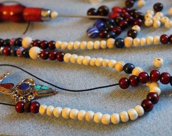 KIT NECKLACE spiritual MALA wood beads and Tibetan Medallion