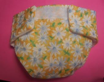Cloth Doll diaper SIZE #2 ready to ship yellow flower daisy  fits some Baby alive cabbage patch snackin sara stuffed animals and more