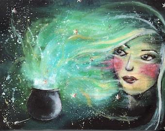 MAGIC Fairy Tale Art Print on Box Canvas 10.6 x 7.8 ins of Original Landscape Illustration Painting