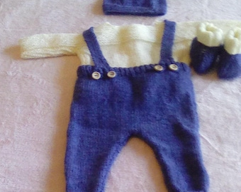 """Hand Knitted Dungarees, Sweater, Boots and Hat to fit 16"""" chest 0-3 months"""