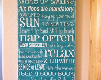 extra large lake house or beach house family rules - design your own color and sayings