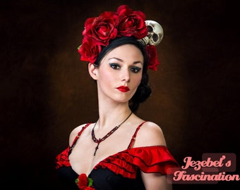 Flower Crown Day of the Dead Halo Dia de los Muertos Red Voodoo Rose Skull Headdress Queen Costume Fascinator Head piece Frida Headband