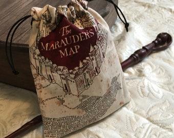 Marauder's Map Inspired Drawstring Bag