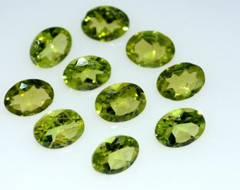 Natural 6x8 mm oval peridot  faceted high quality gemstone