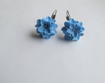 Earrings dangle drop Sky blue Floral jewelry French lever back Surgical hypoallergenic steel Bridal Wedding Polymer clay flowers Bridesmaid