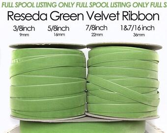 Reseda Green, Kelly Green Nylvalour Swiss Velvet Ribbon -3/8inch, 5/8inch, 7/8inch, 1&7/16inch light green velvet, green nylon velvet (611)