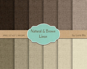 "Linen Digital Paper Pack: ""Natural and Brown"" linen textures, textured digital paper, scrapbook paper, neutral digital paper"