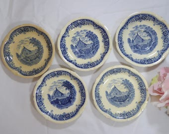 Grindley FIVE After Constable Cottage Cornfield Saucer Plates, Grindley 5 Saucers After Constable Cottage In A Cornfield (ØP)