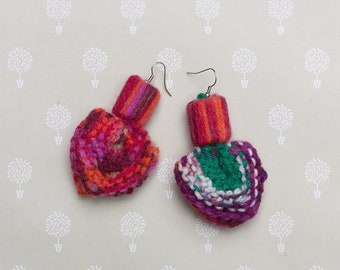 Colorful heart earrings, knitted mix and match earrings, rustic boho jewelry with bamboo beads, OOAK handmade dangle earrings