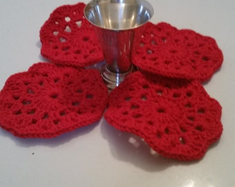 Crochet Cotton Coasters, Red Coaster, Hostess Gift, Warming Gift. Ready To Ship.