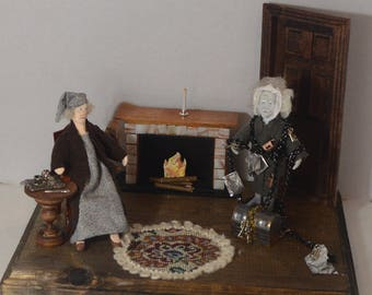 A Christmas Carol Scrooge and Ghost of Jacob Marley Diorama Scene Charles Dickens Story Characters Unique Art Decor