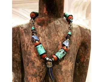 GILDED-MANE PENDANT : Lapis & Brass Tooth Shaped Pendant w/ Turquoise, Agate, Freshwater Pearl and African Pipestone Trade Beads