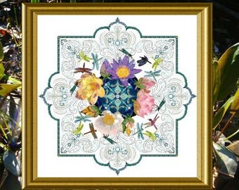 CHÂTELAINE Dragonfly Lace Mandala counted cross stitch pattern at thecottageneedle.com Spring garden Mother's Day gift for her
