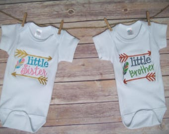 Embroidered Onesies, Little sister/big sister onesies, little brother/big brother onesies, Arrow onesies, Baby shower gift