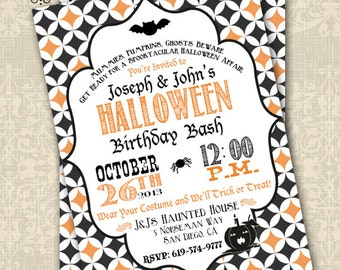 Halloween Birthday Invitation Costume Party Halloween Party Customizable 5x7 Invitation