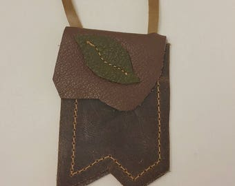 Brown & Green Leather Medicine Bag